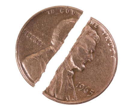 an obverse: broken obverse one cent on white background