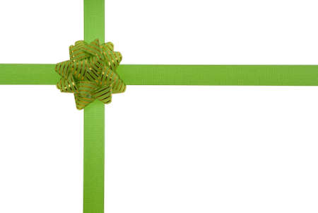 green ribbon with green bow on gift