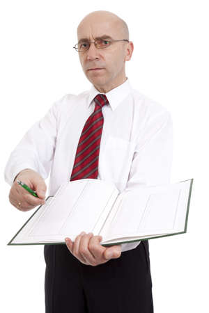underwrite: official with documents passes ballpoint to underwrite paper