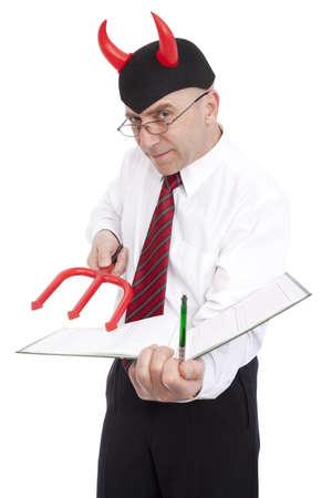 underwrite: clerk horned tempt to underwrite document on white background