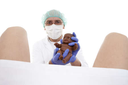 doctor obstetrician receives childbirth on white background Stock Photo - 9330188
