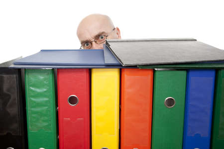 bespectacled man: man with colorful binders on white background