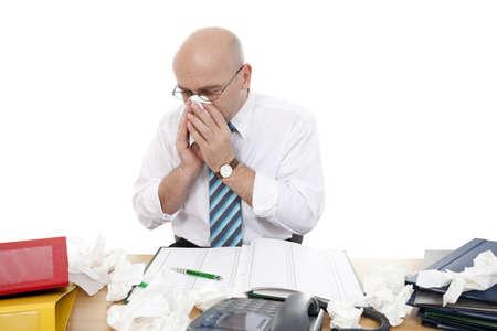 catarrh: ill men in work on white background Stock Photo