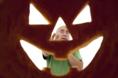 Halloween pumpkin seen from inside as background Stock Photo - 10919406