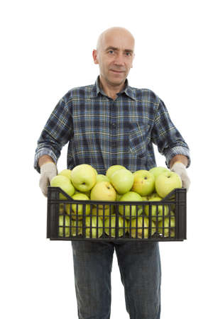 men keep big apple in case on white Stock Photo - 10919405