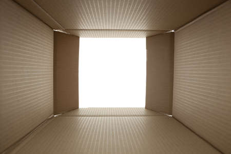 carton: caja de cart�n abierta - a partir de foto en el interior Foto de archivo