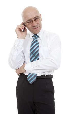 man bespectacled talk through telephone on white photo