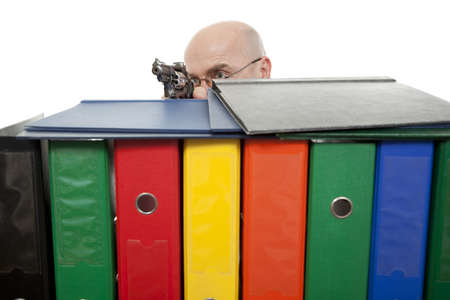 man with colorful binders on white background photo