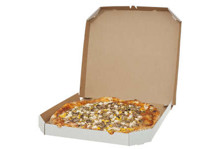 huge pizza in box takeaway on white background photo