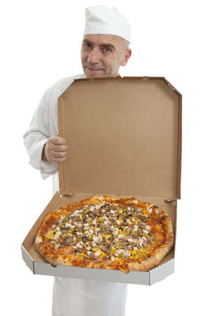 male cook with fresh pizza in box photo