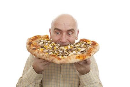 glutton: glutton eat big pizza on white background
