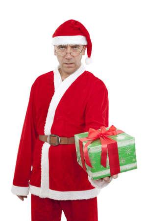 endow: Santa Claus with gift Christmas on white