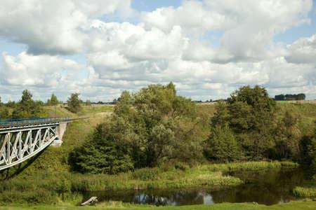 calamus: scenery of the river and bridge in summer