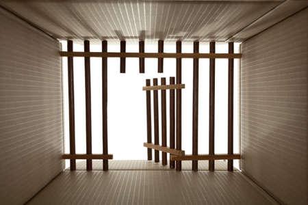 prison cardboard and wood lattice on white Stock Photo - 11746015