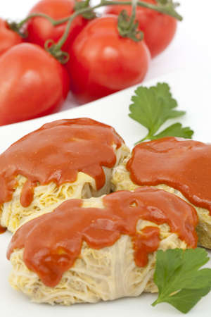 Stuffed cabbage with tomato sauce on white plate photo