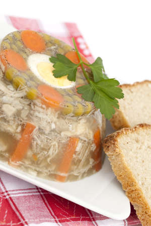 polish chicken: homemade jelly made with pork leg and chicken