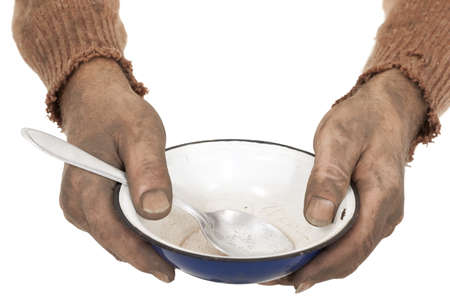 poor man in old sweater with empty bowl Stock Photo - 12120588