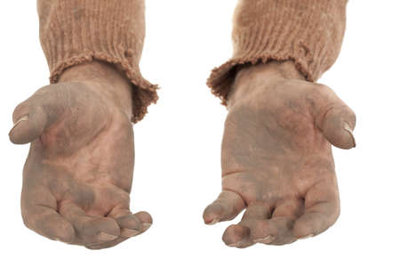 manos sucias: sucia compañero de los pobres en las manos viejo suéter