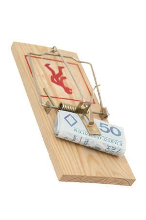 wooden financial trap on people on white background photo