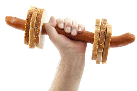 dumbbell  made with sausage and bread on white Stock Photo - 12945447