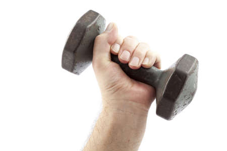 heavy dumbbell to practices of muscles Stock Photo - 12945466