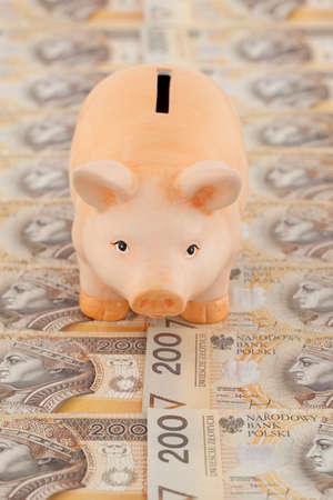 dissolved: salvadanaio rosa sul denaro polacco come sfondo