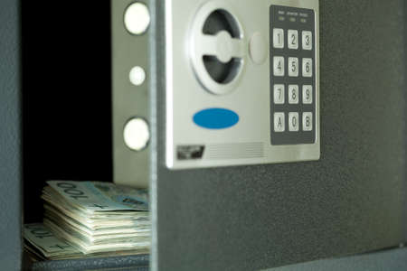open safe,and in centre hundred Polish money Stock Photo