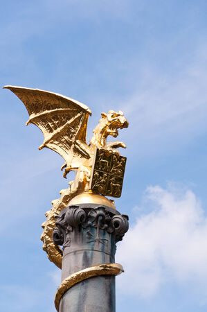 Golden Dragon Statue, Symbol of Den Bosch, The Netherlands Фото со стока - 35289414