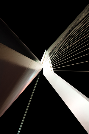 superstructure: Abstract View of Big White Suspension Bridge Cables at Night