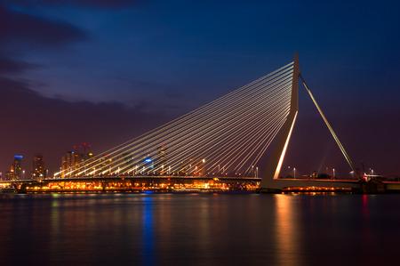 rotterdam: Erasmus Bridge in Rotterdam by Night Stock Photo