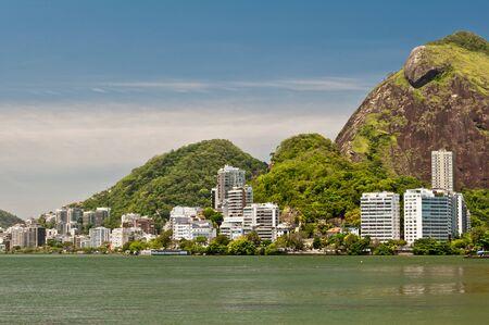Residential Buildings and Mountains around Rodrigo de Freitas Lake in Rio de Janeiro, Brazil