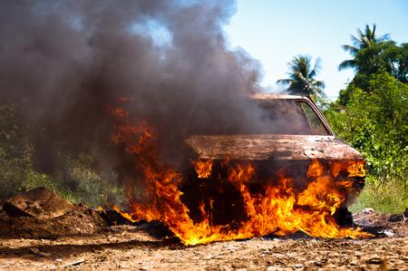 Car on Fire in the FIeld