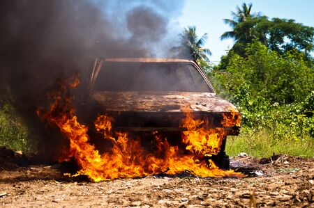 vandalism: Car on Fire in the FIeld