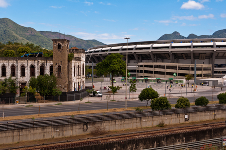 View of Maracana football soccer stadium from the nearby metro station Editorial