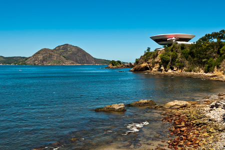 Futuristic Round Building on the Cliff Stock Photo