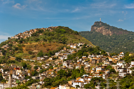rack mount: Rio de Janeiro Mountains with Slums and Corcovado with Christ the Redeemer statue