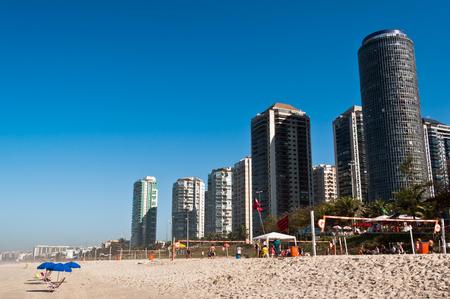 Barra da Tijuca Beach with Luxury Condominium Apartment and Hotel Buildings on Sunny Day in Rio de Janeiro, Brazil