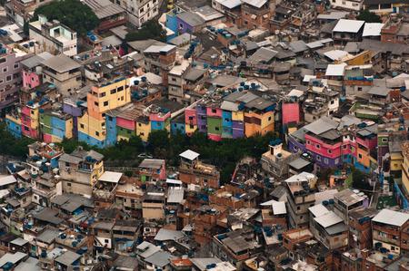 Favela da Rocinha, the Biggest Slum (Shanty Town) in Latin America. Located in Rio de Janeiro, Brazil, it has more than 70,000 inhabitants