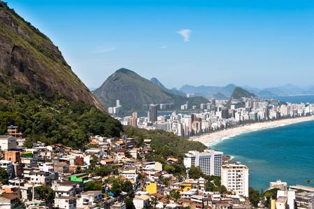 Aerial view of Ipanema and Leblon Beach and Vidigal Favela, Rio de Janeiro, Brazil