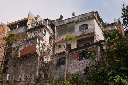 Rio de Janeiro, Brazil - October 18, 2014: Fragile residential constructions of favela Vidigal in Rio de Janeiro. After installing Pacifying Police Units, favela became better and safer place to live in. Editorial