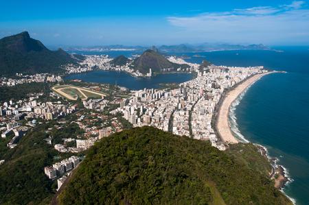 Rio de Janeiro Aerial View Overlooking Ipanema Beach, Rodrigo de Freitas Lagoon and Corcovado Mountain
