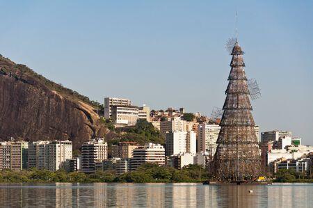 Huge metal structure of a christmas tree in Rodrigo de Freitas lagoon