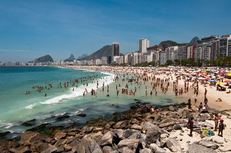 Copacabana Beach Full of People on Hot Summer Day in Rio de Janeiro