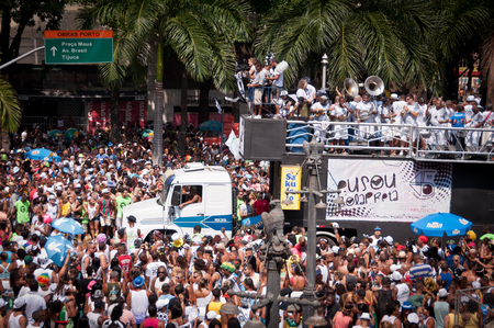 thousands: Rio de Janeiro, Brazil - February 14, 2015: Thousands of revelers in costumes take over the streets of the city center in Rios largest carnival street bands. Black Ball (Bola Preta). Editorial