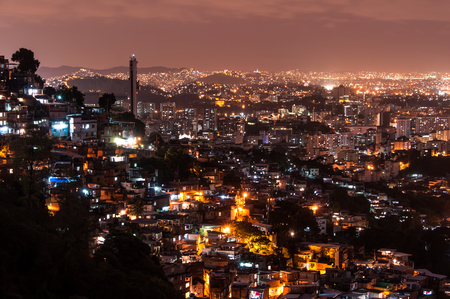 Rio de Janeiro Slums on the Hill at Night Stock Photo
