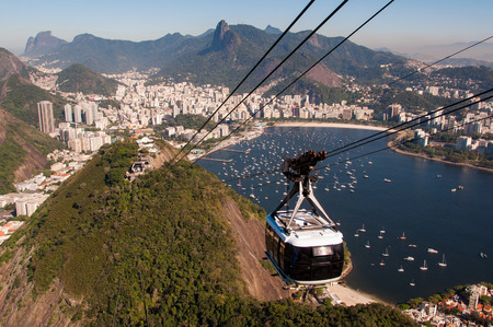 Cable Car Going to the Sugarloaf Mountain in Rio de Janeiro Stok Fotoğraf