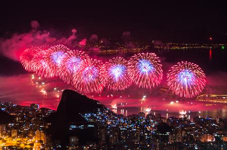 Worlds famous New Year firework show at Copacabana Beach