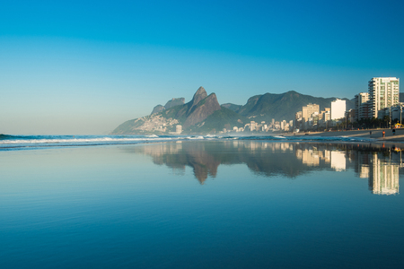 Ipanema Beach view with landscape reflection in water Stock Photo