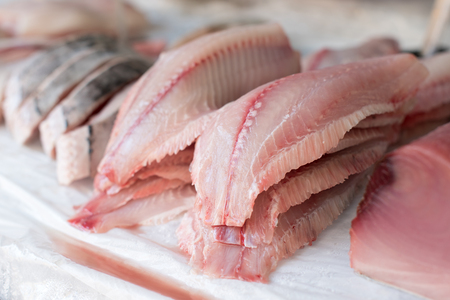 Fresh Fish Fillet for sale at the Market Stock Photo