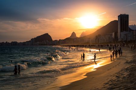 Beautiful Sunset at Copacabana Beach in Rio de Janeiro Editorial